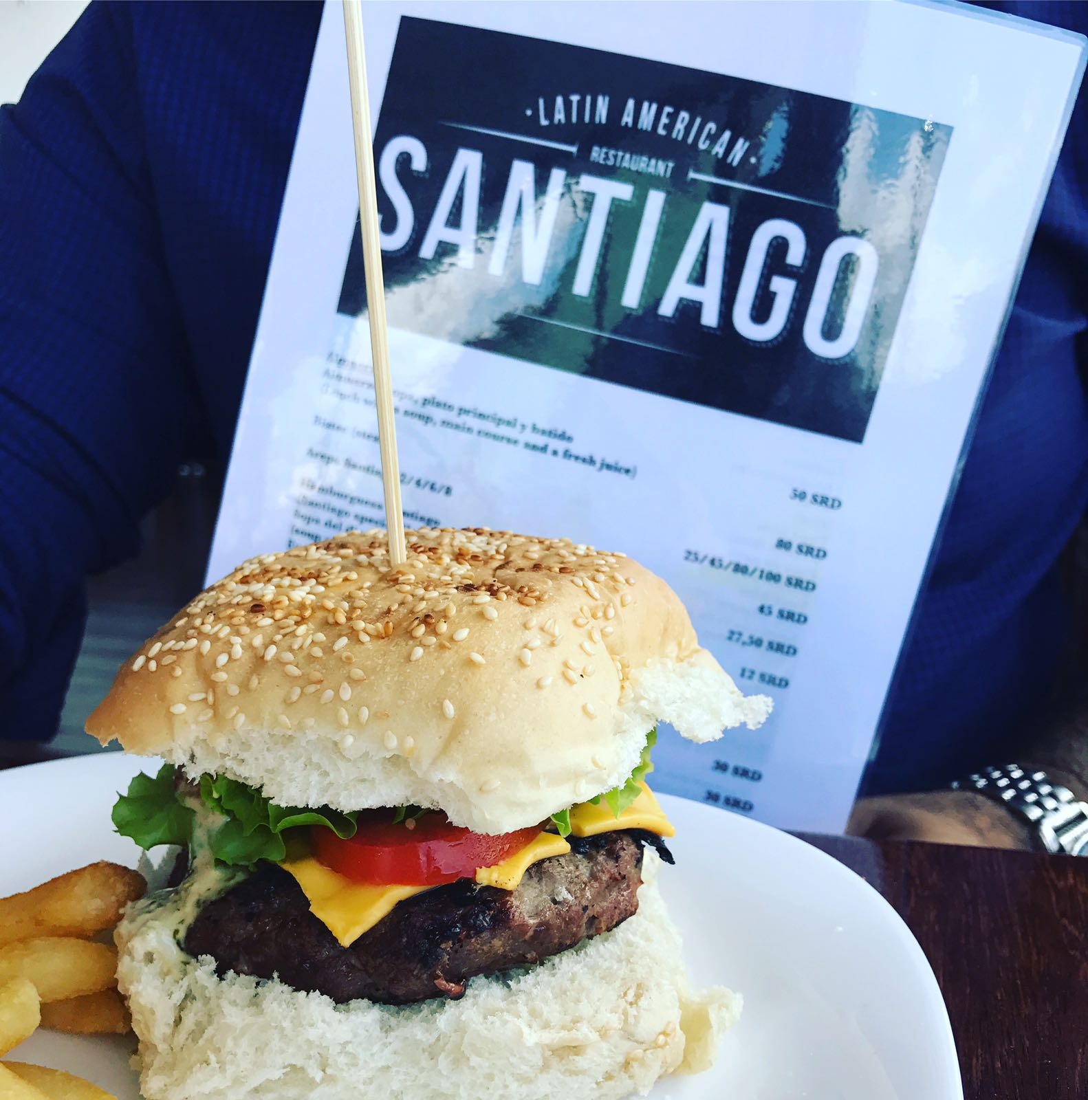 Your favorite burger at Santiago's