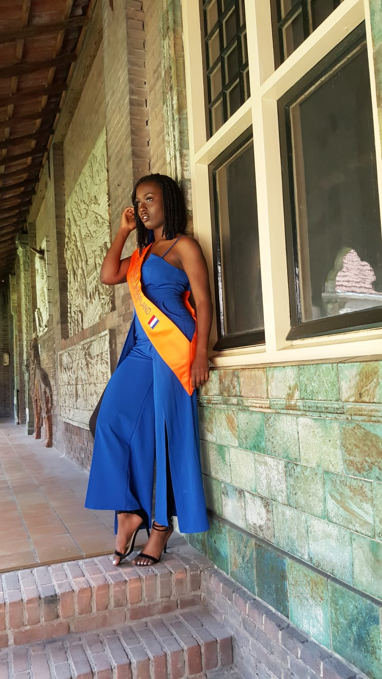 Stephanie Omogun Finalist of the Miss World Netherlands pageant posing at the Royal Delft Factory