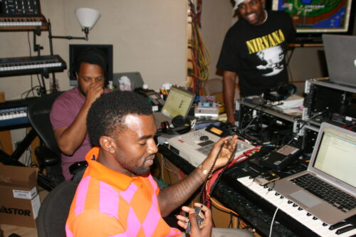 Kanye West in the 1990's producing beats in the studio
